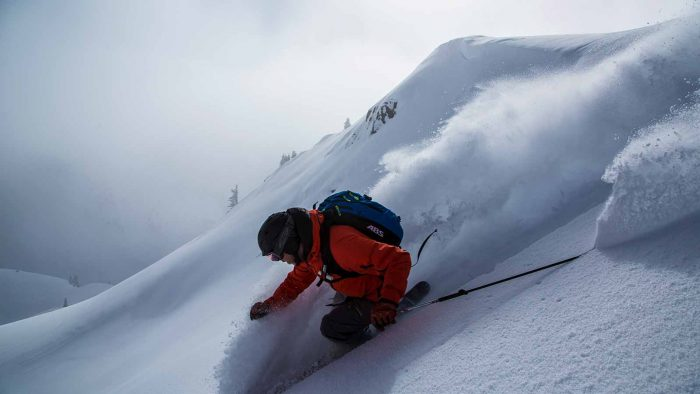 Skiing powder in BC's Kootenay mountains.