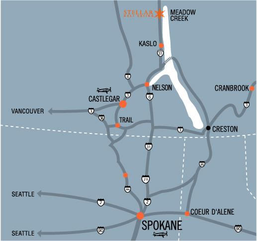 Map of Stellar Heliskiing's location in Kaslo, BC
