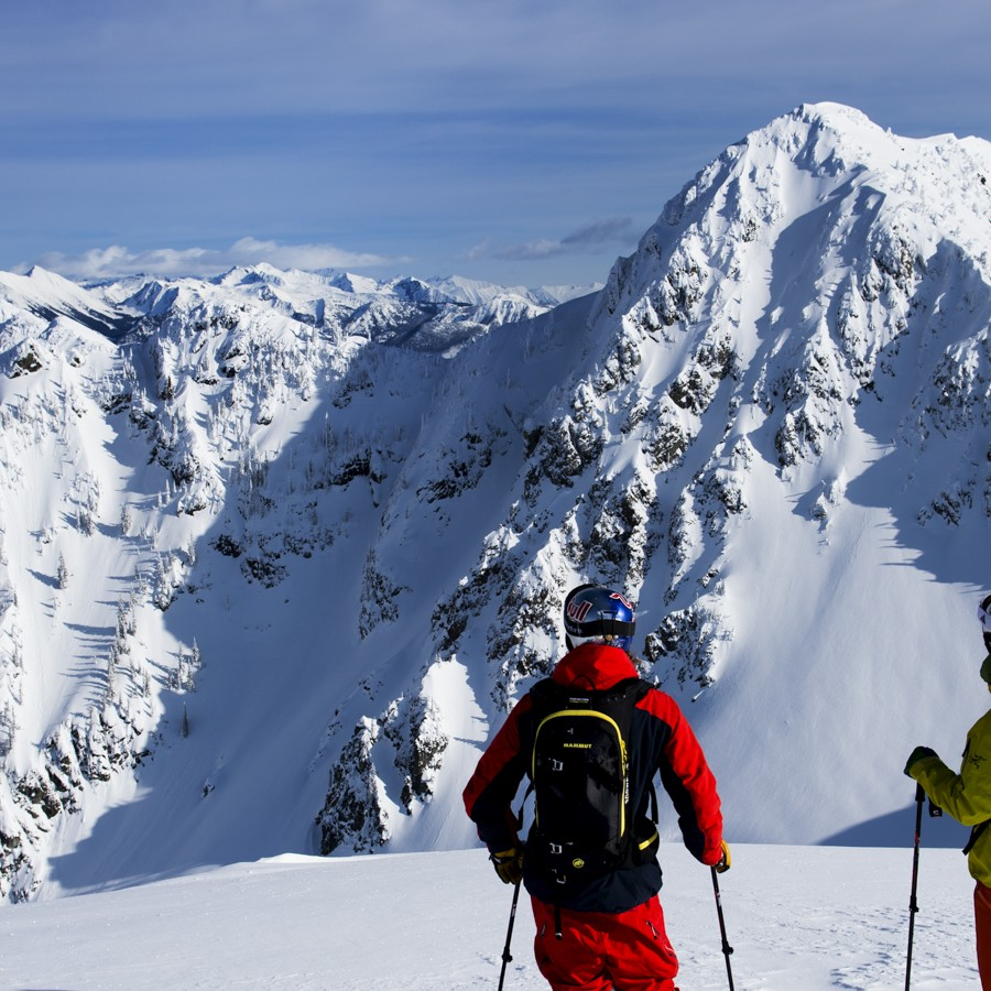 Checking the line with Stellar Heliski in the Kootenay backcountry