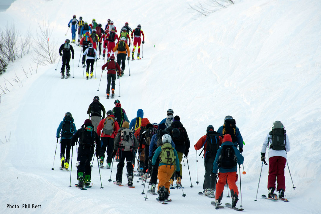 ski touring with friends at Kootenay Coldsmoke Festival in Nelson